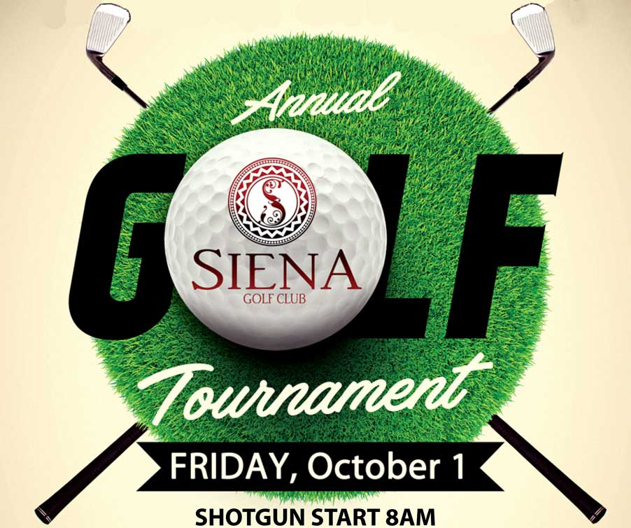 Annual Siena Tournament with golf ball and date